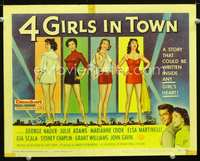 9k002 4 GIRLS IN TOWN TC '56 art of sexy Julie Adams, Marianne Cook, Elsa Martinelli & Gia Scala!