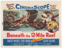 9k014 BENEATH THE 12-MILE REEF TC '53 cool art of scuba divers fighting octopus & shark!