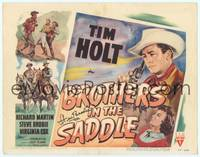 9k017 BROTHERS IN THE SADDLE signed TC '49 by Steve Brodie, cool western artwork with Tim Holt!
