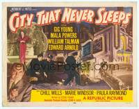 9k021 CITY THAT NEVER SLEEPS TC '53 great art of gangsters & cops in Chicago!