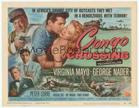 9k022 CONGO CROSSING TC '56 art of Peter Lorre pointing gun at Virginia Mayo & George Nader!