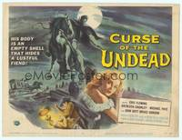9k026 CURSE OF THE UNDEAD TC '59 art of lustful fiend on horseback in graveyard by Reynold Brown!