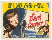9k027 DARK CORNER TC '46 great huge image of Lucille Ball over Mark Stevens & other cast!
