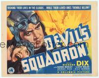 9k031 DEVIL'S SQUADRON TC '36 cool intense close up art of pilot Richard Dix & crashing plane!