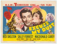 9k036 EXCUSE MY DUST signed TC '51 by Macdonald Carey, art of Red Skelton kissed by pretty girls!