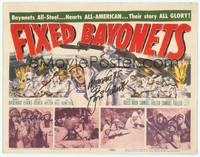 9k039 FIXED BAYONETS signed TC '51 by Gene Evans, directed by Samuel Fuller, cool art of Korean War