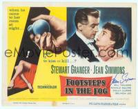 9k040 FOOTSTEPS IN THE FOG signed TC '55 by Jean Simmons, who is pictured with Stewart Granger!