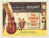 9k048 HARDER THEY FALL TC '56 Humphrey Bogart, Rod Steiger, cool boxing artwork!