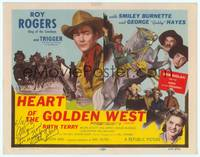 9k050 HEART OF THE GOLDEN WEST signed TC R55 by Ruth Terry, cool image of Roy Rogers on Trigger!
