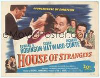 9k052 HOUSE OF STRANGERS TC '49 Edward G. Robinson Richard Conte slapping Susan Hayward!