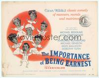 9k058 IMPORTANCE OF BEING EARNEST TC '53 Oscar Wilde's comedy of manners, morals & matrimony!