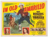 9k059 IN OLD AMARILLO signed TC '51 by Penny Edwards, cool image of Roy Rogers with smoking gun!