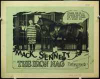 9k063 IRON NAG TC '25 Mack Sennett, wacky image of Billy Bevan with race horse in jail cell!