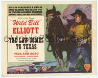 9k071 LAW COMES TO TEXAS TC R48 wonderful close up artwork of Wild Bill Elliott & his horse!