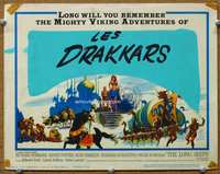 9k074 LONG SHIPS TC '64 Richard Widmark, Sidney Poitier, cool art of the Mighty Vikings!