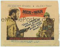 9k077 MEN IN WAR TC '57 art of Robert Ryan pointing gun at Aldo Ray, Korea War!