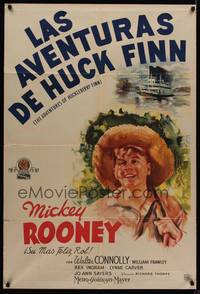 1a048 ADVENTURES OF HUCKLEBERRY FINN Argentinean '39 artwork of Mickey Rooney wearing straw hat!