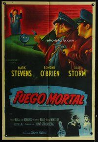 1a056 BETWEEN MIDNIGHT & DAWN Argentinean '50 artwork of Mark Stevens cornered by the cops!