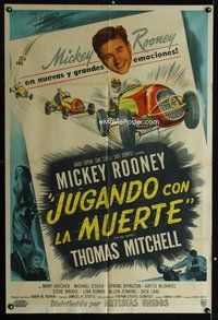 1a057 BIG WHEEL Argentinean '49 headshot of Mickey Rooney + cool Indy 500 car racing artwork!