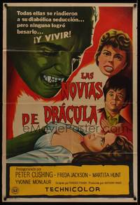 1a063 BRIDES OF DRACULA Argentinean '60 Terence Fisher, Hammer, Peter Cushing, different art!