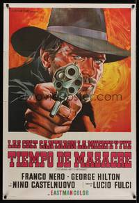 1a065 BRUTE & THE BEAST Argentinean '66 Lucio Fulci, cool art of Franco Nero pointing gun!