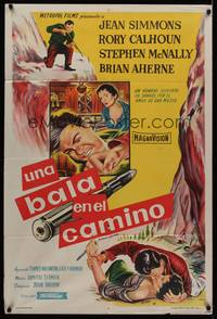 1a066 BULLET IS WAITING Argentinean '54 Jean Simmons trapped with Rory Calhoun & Stephen McNally!