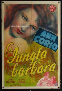 1a067 CALL OF THE JUNGLE Argentinean '44 wonderful super close up art of sexy exotic Ann Corio!