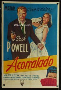 1a073 CORNERED Argentinean '46 full-length artwork of Dick Powell pointing gun & Michelene Cheirel!