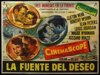 1a040 3 COINS IN THE FOUNTAIN large Argentinean '54 Clifton Webb, Dorothy McGuire, Peters, Jourdan