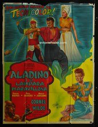 1a046 THOUSAND & ONE NIGHTS large Argentinean '45 Evelyn Keyes, Cornel Wilde, Rex Ingram as Genie!