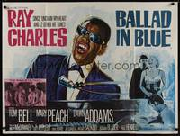1a003 BLUES FOR LOVERS British quad '66 Ballad in Blue, different art of Ray Charles by Chantrell!