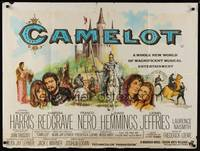 1a006 CAMELOT British quad '68Harris as King Arthur, Redgrave as Guenevere, cool different art!