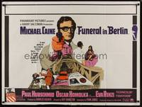 1a015 FUNERAL IN BERLIN British quad '67 cool art of Michael Caine pointing gun, Hamilton directed!