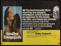 1a016 GOODBYE EMMANUELLE British quad '77 sexy Sylvia Kristel & Umberto Orsini naked in water!