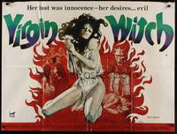 1a036 VIRGIN WITCH British quad '72 Ann Michelle, occult horror, wild image of girl to be sacrificed