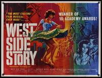 1a038 WEST SIDE STORY British quad '62 Academy Award winning classic musical, best different art!