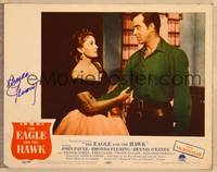 1d019 EAGLE & THE HAWK signed LC #1 '50 by Rhonda Flemming, who's being grabbed by John Payne!