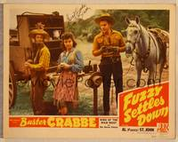 1d026 FUZZY SETTLES DOWN signed LC '44 by Buster Crabbe, who's with Fuzzy & Patti McCarthy!