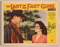 1d032 LAST OF THE FAST GUNS signed LC #4 '58 by Jock Mahoney, who's c/u with pretty Linda Cristal!
