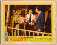 1d035 MARTY signed LC #5 '55 by Ernest Borgnine, who's visiting his sister, directed by Delbert Mann