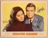 1d043 OPERATION CROSSBOW signed LC #1 '65 by sexy Sophia Loren, in close portrait w/George Peppard!