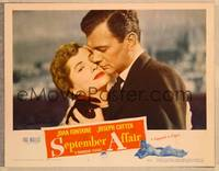 1d047 SEPTEMBER AFFAIR signed LC #5 '51 by Joan Fontaine, who's in a romantic c/u with Cotten!