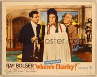 1d064 WHERE'S CHARLEY signed LC #4 '52 by Ray Bolger, wacky close up of him cross-dressing!