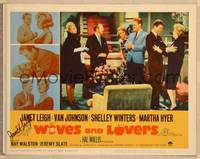 1d066 WIVES & LOVERS signed LC #8 '63 by Janet Leigh, who's puzzled that everyone is laughing!