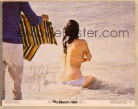 1d057 SWEET RIDE signed 11x14 still '68 by Jacqueline Bisset, sitting topless in ocean!