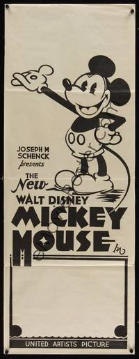 1k085 NEW WALT DISNEY MICKEY MOUSE long Aust daybill 32 great cartoon image with pie-cut eyes