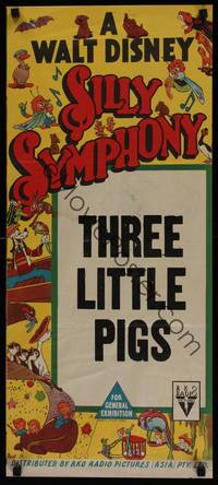 1s581 THREE LITTLE PIGS Aust daybill 50s Walt Disney Silly Symphony animation