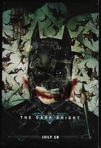 1w179 DARK KNIGHT wilding 1sh '08 cool playing card image of Christian Bale as Batman!