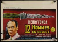 2b001 12 ANGRY MEN Belgian '57 close-up art of Henry Fonda, Sidney Lumet courtroom jury classic!