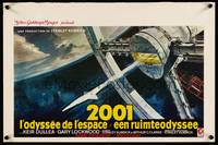 2b002 2001: A SPACE ODYSSEY Belgian '68 Stanley Kubrick, art of space wheel by Bob McCall!